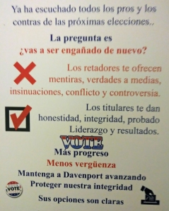 Davenport Moving Forward Spanish Postcard Election 2019